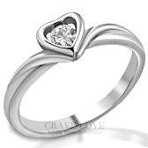 ハート形の中に一粒の石を置いた可愛いステンレスリングハートの指輪ハート型レディースリング女性指輪ファッションリング大きいサイズもあります。トラベルジュエリー誕生日プレゼント結婚式にも【Crave-LoveJewelrybijouxParis】
