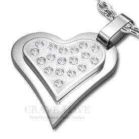 ハート パヴェ レディース ステンレス ペンダント ネックレス 女性 海外 おしゃれ ファッション ジュエリー アクセサリー トラベルジュエリーや誕生日プレゼントにも・・ 【 Crave-Love Jewelry bijoux Paris 】