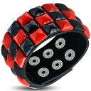 ブラック&レッド ピラミッド形 スタッズ レザー ブレスレット/B 【チェッカー・デザイン】【チェック】【checkers】【…