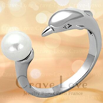 イルカ モチーフ パール リング/ドルフィン/真珠/指輪/dolphin 女性 レディース リング 大きいサイズ もあります。 【 6月誕生石 星座石 蟹座 】【 Crave-Love クレィヴ ラブ 】
