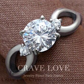 3ストーン スプリット 曲線 シルバー ステンレス リング 指輪 女性 指環 トリロジー レディース ファッション ジュエリー 大きいサイズ もあります。トラベルジュエリー 誕生日プレゼント 結婚式にも・・【 Crave-Love Jewelry bijoux Paris 】