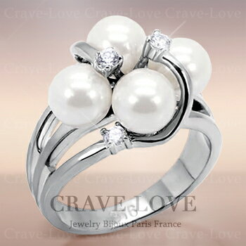 可愛いデザインの ホワイト パール ステンレス リング 指輪 【6月誕生石 真珠 星座石 蟹座】レディース ファッション リング 大きいサイズ もあります。おしゃれなボリューム感。結婚式などにも・・【 Crave-Love Jewelry bijoux Paris 】