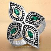 エメラルドカラーフラワーレディースステンレスリングフローラル花|緑色べリル色|5月誕生石|女性指輪ファッションジュエリービジュー大きいサイズもあります。トラベルジュエリー誕生日プレゼントにも・・【Crave-Love】