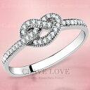 結び目のような 可愛い オープン ハート ステンレス リング 細めで繊細なパヴェの指輪 | 細い 細身 華奢 女性 レディース リング 大きめ 大きいサイズ もあります。トラベルジュエリー プレゼントにも・・【 Crave-Love Jewelry bijoux Paris 】