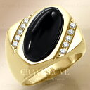 【メンズリング 男の指輪 メンズアクセサリー】ブラック オニキス ゴールド ステンレス メンズ リング RM28 指輪 男性…
