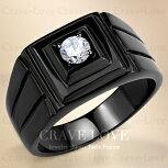 【メンズリング男の指輪メンズアクセサリー】豪華デザインブラックステンレスメンズリングRM33おしゃれ黒色BLACK|指輪ボリューム感幅広立て爪ファッションリング大きいサイズもあります。【Crave-LoveBijouxParis】