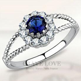 サファイア ブルー カラー シルバー ステンレス フラワー リング 花をモチーフとした おしゃれ な海外デザインの 指輪 女性 レディース ファッション リング 大きいサイズ もあります。 トラベルジュエリーや誕生日 プレゼントなどにも・・
