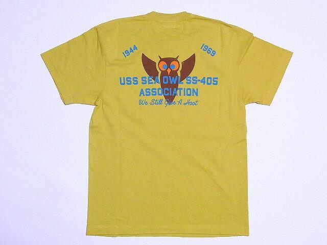 Pherrow's[フェローズ] Tシャツ USS SEA OWL SS-405 12S-PT18 (G.MUSTARD)