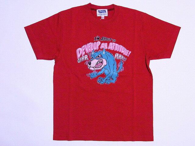Pherrow's[フェローズ] Tシャツ DEVELOP AN ATTITUDE! 12S-PT12 (スモーク レッド)