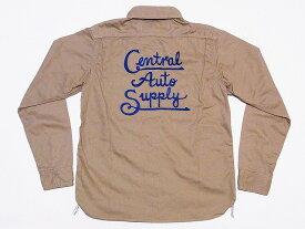 Pherrow's[フェローズ] ワークシャツ 14W-720WS-P 長袖 ツイル 刺繍 Central Auto Supply (ベージュ) 送料無料 代引き手数料無料 【RCP】