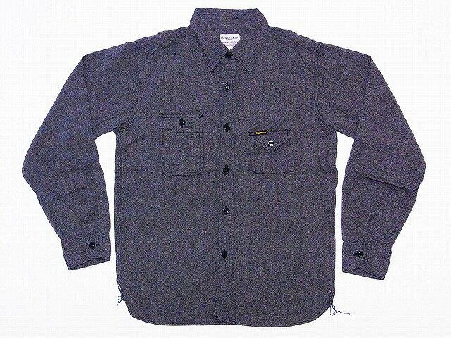 Pherrow's[フェローズ] ワークシャツ 撚り杢シャンブレーシャツ 750WS 長袖シャツ (ブラック) 送料無料 代引き手数料無料 【RCP】