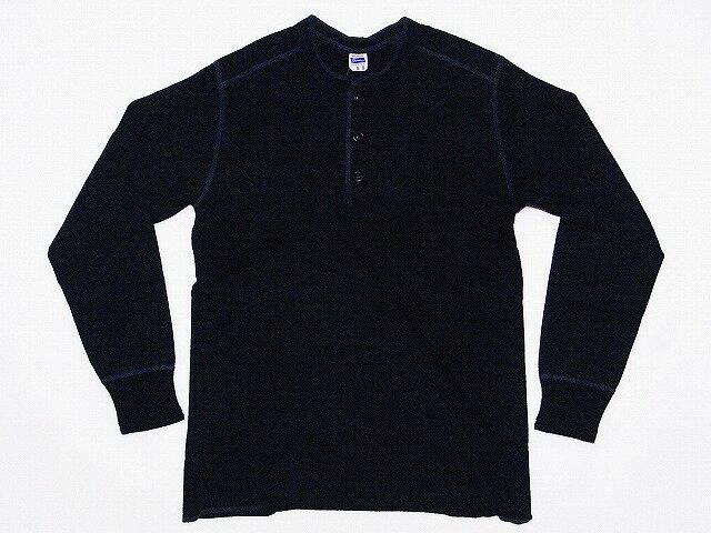 Pherrow's[フェローズ] ロンT PCT2 無地 ヘンリーネック フライス ロングスリーブTシャツ (ブラック)
