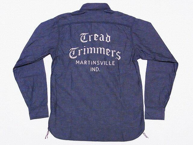 Pherrow's[フェローズ] ワークシャツ 15W-720WS-W-P 長袖 シャンブレー 刺繍 TREAD TRIMMERS (ブラック) 送料無料 代引き手数料無料 【RCP】