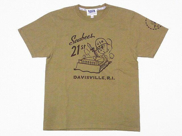 Pherrow's[フェローズ] Tシャツ 17S-PT5 SEABEES (ライトオリーブ)