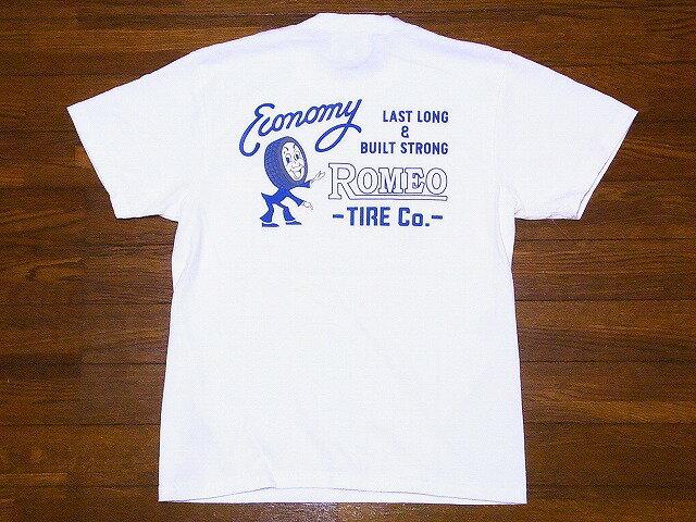 Pherrow's[フェローズ] Tシャツ 18S-PT3 ROMEO TIRE Co. (ホワイト)