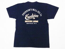 Pherrow's[フェローズ] Tシャツ ヘンリーネックTシャツ 19S-PHNT-P1 Excelsior MOTOR LUBE ヘンリーT (S.ブラック)