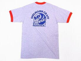 Pherrow's[フェローズ] Tシャツ 19S-PRT3 リンガーTシャツ EDELMANN CRAFT (杢グレー×レッド)