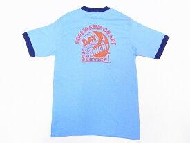 Pherrow's[フェローズ] Tシャツ 19S-PRT3 リンガーTシャツ EDELMANN CRAFT (サックス×ネイビー)