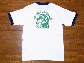 Pherrow's[フェローズ] Tシャツ 19S-PRT3 リンガーTシャツ EDELMANN CRAFT (ホワイト×ネイビー)
