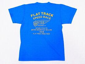 Pherrow's[フェローズ] Tシャツ ヘンリーネックTシャツ 19S-PHNT-P3 FLAT TRACK SPEED RACE ヘンリーT (オーシャンブルー)