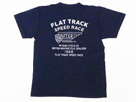 Pherrow's[フェローズ] Tシャツ ヘンリーネックTシャツ 19S-PHNT-P3 FLAT TRACK SPEED RACE ヘンリーT (S.ブラック)