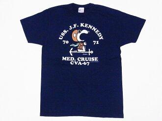 Buzz Rickson's [バズリクソンズ] X PEANUTS [peanut] T-shirt Snoopy SNOOPY BR77545 MED. CRUISE CVA-67 (navy)