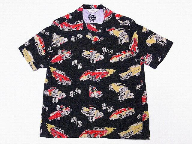 STAR OF HOLLYWOOD[スターオブハリウッド] オープンシャツ SH37590 HOT ROD by VINCE RAY 半袖 オープンカラーシャツ (ブラック) 送料無料 代引き手数料無料