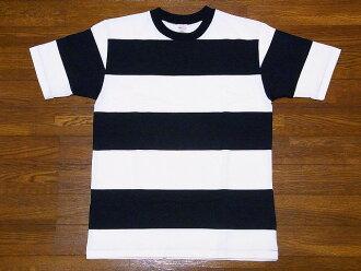 WAREHOUSE[服装房屋]T恤短袖4英寸边缘T恤4052(黑色×灰白)