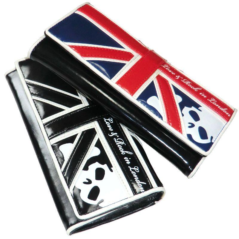 財布 さいふ サイフ 財布メンズ バイカー財布メンズ メンズサイフ 財布 エナメルプリント 二つ折り財布 チェーン/鎖付き UK/イギリス/ユニオンジャック柄 スカル柄