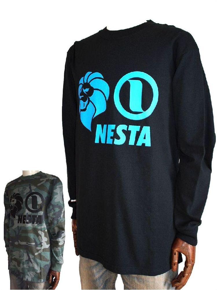 nesta brand NESTA BRAND ネスタTシャツ NESTA BRAND ネスタブランドTシャツ ネスタライオン 長袖Tシャツ ブラック/迷彩