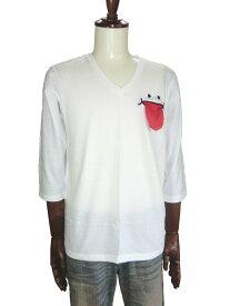 UP START アツプスタート ニコスマイルTシャツ ニコスマイル7分袖Tシャツ ニコスマイルVネックT ホワイト