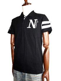 Norton ノートン ノートンモーターサイクル バイカー Nリゾート花柄 ノートン刺繍プリント 袖ライン 半袖ポロシャツ