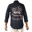 Norton ノートン ノートンモーターサイクル バイカー シシュウ 7分袖シャツ ミリタリー バック刺繍シャツ