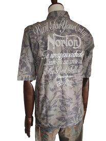 (ノートン)Norton メンズシャツ バイカーダンガリー リーフ カモ 5分袖 シャツ