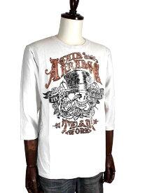 Real Masters リアルマスターズ オリジナルスカル/髑髏プリントUSED加工7分袖Tシャツ