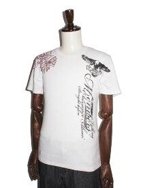 バイカー系 Real Masters リアルマスターズ 半袖tシャツ tシャツメンズ 刺繍ロゴ スカルインディアン バックプリント ユーズド加工 タイトフィット