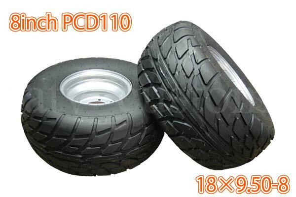 ATV 四輪バギー トライク PCD110 タイヤ スチール ホイール 左右セット 8インチ 18×9.50-8 銀