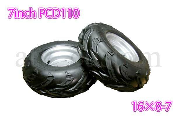 ATV 四輪バギー オフロード ブロック タイヤ PCD110 ホイール 7インチ 16×8-7/OF銀