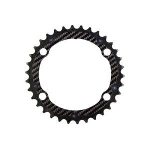 (CarbonTi/カーボンチ)(自転車用チェーンリング関連)チェ-ンリング (4アーム110/39T) アルミ(ブラック)/カーボン