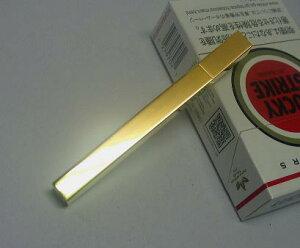 送料140円〜日本製(老舗 坪田パール社)超軽量20g タバコサイズ Queue(クー)フリント式オイルライター(角ポリッシュ鏡面)真鍮ゴールド