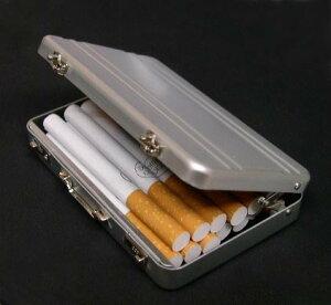 送料140円〜アルミ製アタッシュケース型シガレットケースor名刺入れorカードケース(1段ライン)