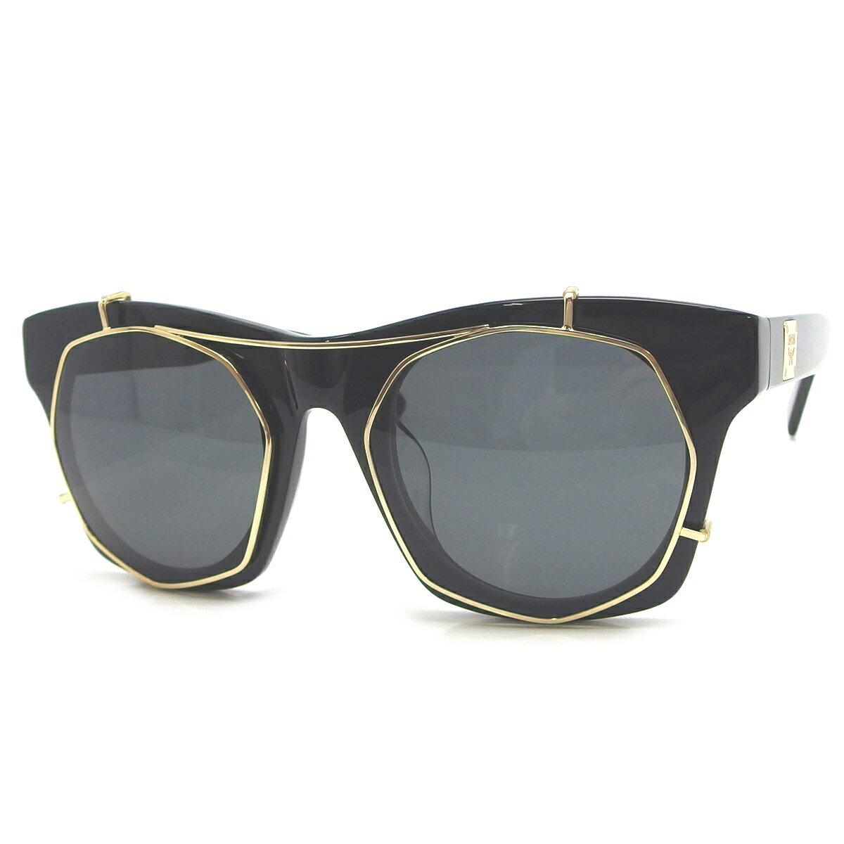 MCM エムシーエム MCM605SA サングラス プラスチック メタル ブラック 黒色 シャイニーゴールド 金色【大黒屋質店出品】【中古】【送料無料】