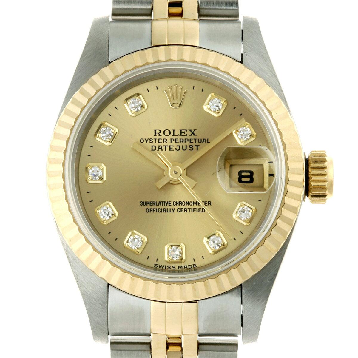 [飯能本店] ROLEX ロレックス デイトジャスト 10P ダイヤモンド (1996年製) 69173G 腕時計 ステンレススチール シャンパン 文字盤 レディース DH48608【大黒屋質店出品】 【中古】【送料無料】