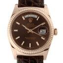 【飯能本店】 ロレックス デイデイト 36 ランダム刻印 メンズ 腕時計 118135 750ピンクゴールド チョコレート文字盤 D…