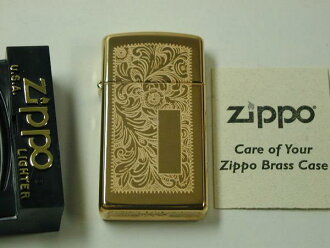 "Zippo lighters: ""out of print"" Zippo Venetian / / Arabesque / / #1652B slim, Canada factory genuine ""gold / brass ☆ inner even gold! ☆ ◆ rare! ◆"