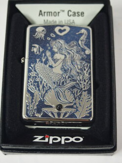 Zippo lighters: Zippo armor Mermaid who fish Onyx, natural stone / / etching & printing / / white nickel & blue armor regular ☆ ♪ beautiful! ♪