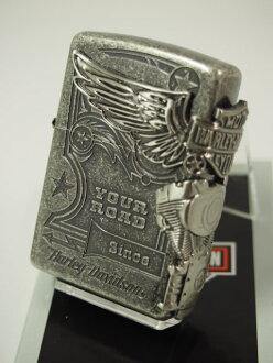 Zippo 打火机: Zippo Harley Davidson 侧鹰 //Harley Davidson / / HDP 28 银 JP 日本限制生产模型 ☆ 银青睐银熏双面雕刻 ♦ 酷! ■