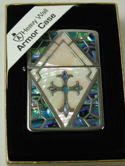 "Zippo lighters: Zippo armour Shell //Shell Inlay / Silver ""cross"" ☆ beautiful! ☆"