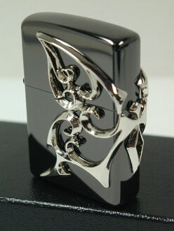 "Zippo lighters: Zippo Butterfly //3 face continuous metal / / Butterfly Black Black / Silver/Silver ""regular"" ☆☆"