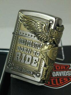 ジッポーライター: Zippo 할리 측이 글//Harley Davidson//HDP-27은 JP 일본 한정 생산 모델 ☆ 실버 앤 브라 스 ☆